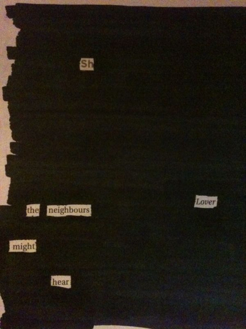 Blackout by missxx:  (A quick blackout poem, as yet untitled, snapped on my iPhone.)