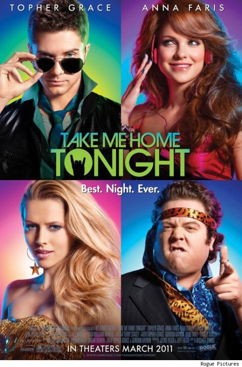 Poster: Take Me Home Tonight | Cinematical  A new comedy from Canadian director Michael Dowse ('Fubar,' 'It's All Gone Pete Tong,' 'Fubar II: Gods of Blunder'). Previously titled 'Kids in America,' Dowse's film is a period piece comedy set in the '80s* starring Anna Faris, Topher Grace, Dan Fogler, Michelle Trachtenberg and Teresa Palmer as a gang of 20-somethings who have one last screw-everything party before the onset of adulthood in the '90s.  Hits theaters March 4, 2011 and will most likely be terrible. Hey, at least the poster is cool.