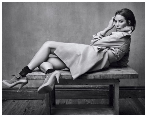 Elle France, December 2010  photographer: Mark Seliger  Christy Turlington black and white, trench coat Christy Turlington for Elle France December 2010 by Mark Seliger