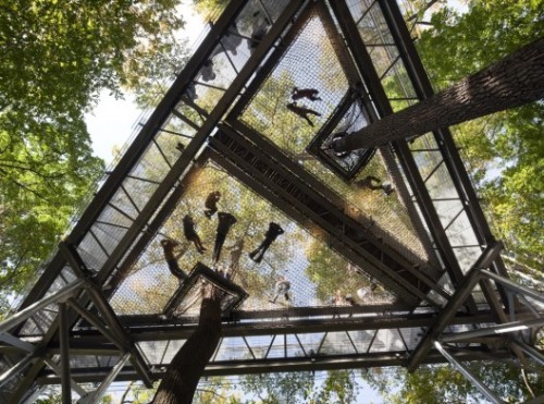 handa:  ArchDaily - Morris Arboretum Tree Adventure / Metcalfe Architecture & Design  ⌂ so like, if a really 'heavy' person sits on this thing, will everyone else roll down towards that person? if so, i'm totally gaining thirty kilos to 'fat attack' this mo'frugger.