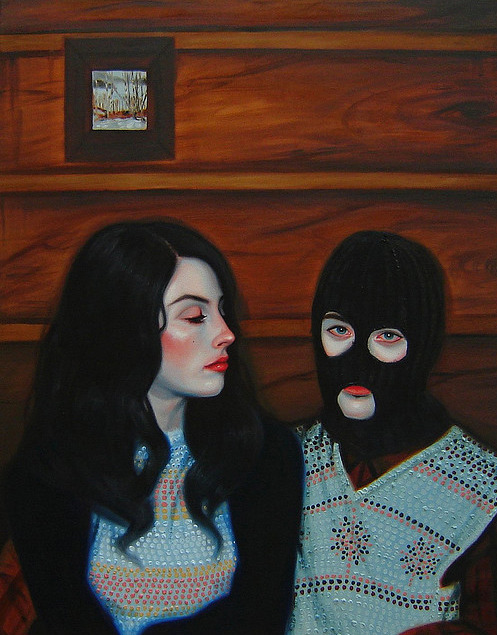 "Kris Knight BODERLINE oil on canvas From the series ""Farewell Log Cabin"" 2009"