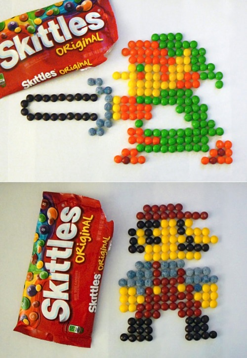 Food Art of the Day: Pixelated Link and Mario made of Skittles, by Matt McManis.  Taste the Nintendo.