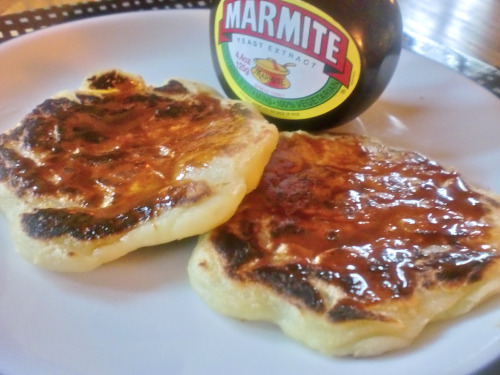 Tattie scones with Marmite! Get the recipe from the Great Vegan Conspiracy and make them tout de suite! It is so, so cold outside and these little bastards will warm you right up. I didn't have quite enough potatoes, so I added a couple of parsnips, and they were just a little sweet as well as salty and crispy and soft and hot. If you don't smother them in Marmite, you're missing out.