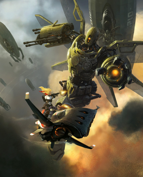 I really like flying-mecha ships and personal flying bikes/boards/things