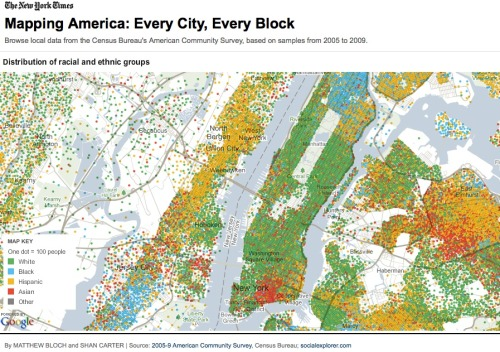 Racial profiling: The New York Times maps out the distribution of racial and ethnic groups, block by block, throughout America. capitalnewyork:  This was hilarious, ok? But, some maps are useful when they are made by smart people who care. You have to click on it though. Mapping America: Every City, Every Block | nytimes.com