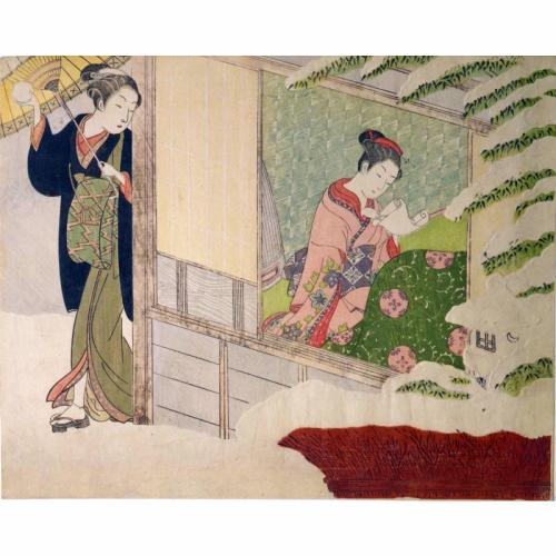 Woman Throwing a Snowball at a Girl Reading a Love LetterDate: late 1760sArtist/Maker: Suzuki Harunobu  Japanese, 1725 - 1770  Allen Memorial Art Museum