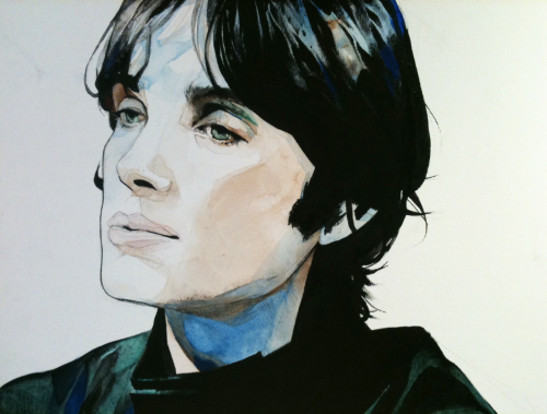 Cillian Murphy; acrylic on canvasboard