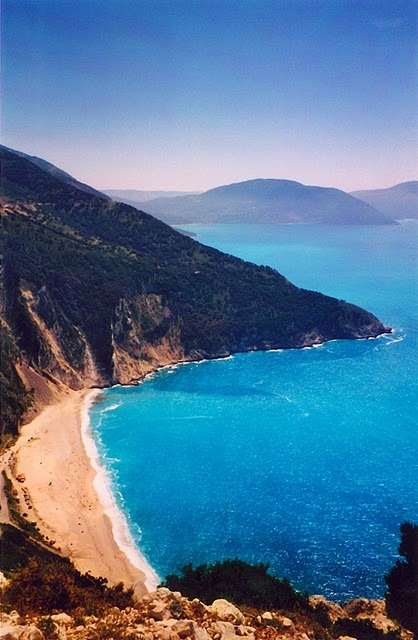 Myrtos Beach, Kefalonia, Greece … Photo by Cherina Hadley www.quietwanderings.blogspot.com