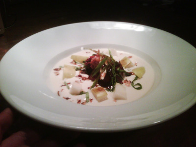 table6; chilled pear miso soup, candied oyster bbq pork butt, basil, scallion