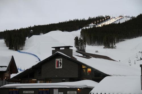 First view of Breckenridge's Dew Tour SuperPipe. Breckenridge, Colorado.