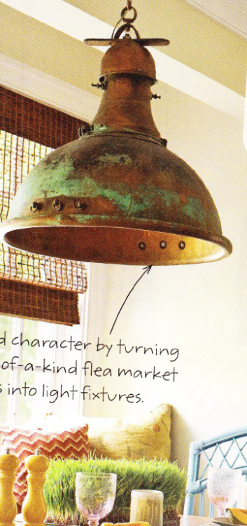 cool light fixture… from flea market finds. via a BHG publication, I think.