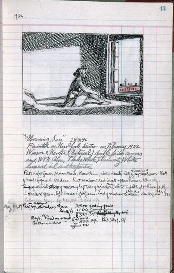 solidair: Edward Hopper, page 43 from Artist's ledger - Book III, 1924–67