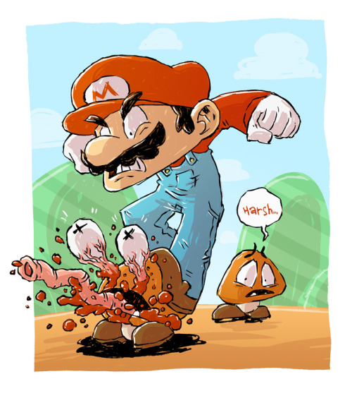"Mario Fan Art of the Day: ""Mario Sketch"" by Derek Hunter.  Hunter says:  Happy 25th birthday, Mario! It's been 25 wonderful years of killing unarmed civilians of the mushroom kingdom!  [deviantart.]"