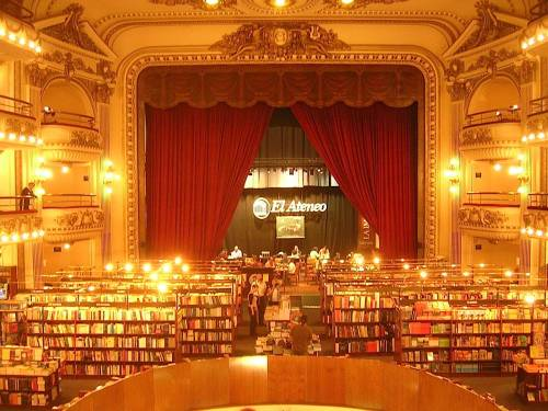 El Ateneo, originally a theater (Teatro Grand Splendid), has now become in one of the top 5 most beautiful bookstores in the world www.guardian.co.uk/books/2008/jan/11/bestukbookshops. It has a reasonable offering of books in English. Located at Santa Fe 1860. Ciudad De Buenos Aires, Argentina