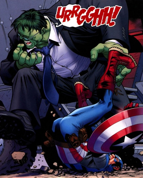 docawesome:  Captain America kicking the Hulk in the balls. You're welcome.