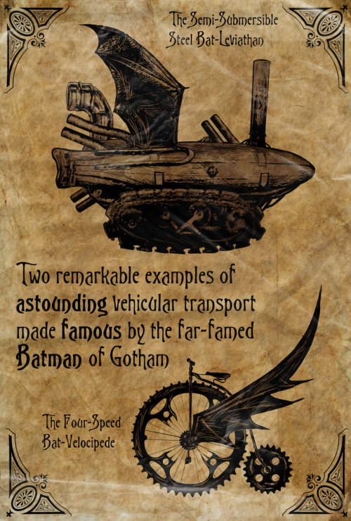 timetravelandrocketpoweredapes:  Steampunk Batman Vehicles  by ~kenfreelance