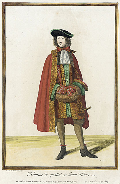 By 1683 men's winter wear had evolved enough practicality to at least include closed-toed shoes, however the thin hose remained unchanged.