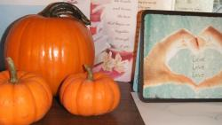 "we never carved our pumpkins but they still sit on your bed side. remember the other day when you said ""man i guess pumpkins last for a long time"" i said ""i guess, at least these do.""  we have a lifetime to carve pumpkin faces :) ***image is mine. please credit if used.***"