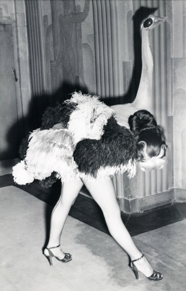 "vintagegal:  1951 ""Ostrich"" dancer in the Folies Bergere show at theLondon Hippodrome"