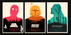 "These are incredibly awesome. ollymoss:  Star Wars My take on the original Star Wars Trilogy. Officially-licensed, limited edition 24x36"" screen-printed posters available through Mondo Tees on Monday 20th December. A small number of signed artist-proofs will be available from me on Wednesday 23rd December."
