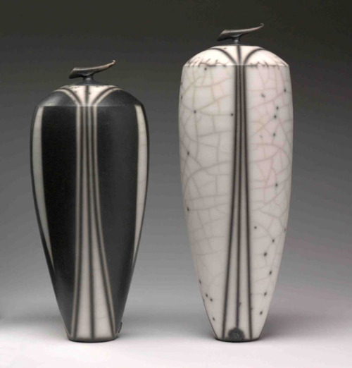 Tim Andrews: Tall black and white curling pieces