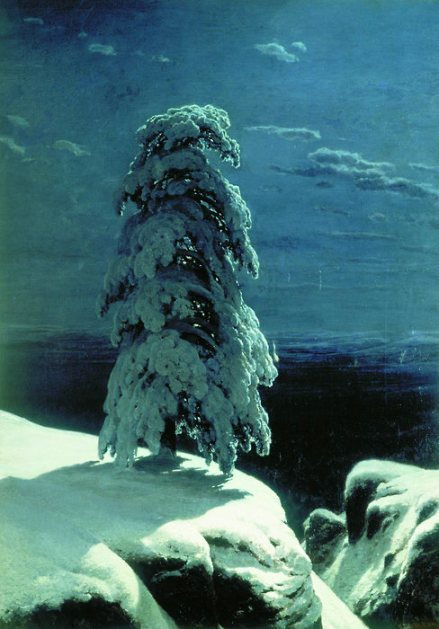 In the blue nightfrost haze, the sky glowswith the moonpine tree topsbend snow-blue, fadeinto sky, frost, starlight.The creak of boots.Rabbit tracks, deer tracks,what do we know.—Gary Snyder Painting: Ivan Shishkin, In the Wild North, 1891. From parabola-magazine