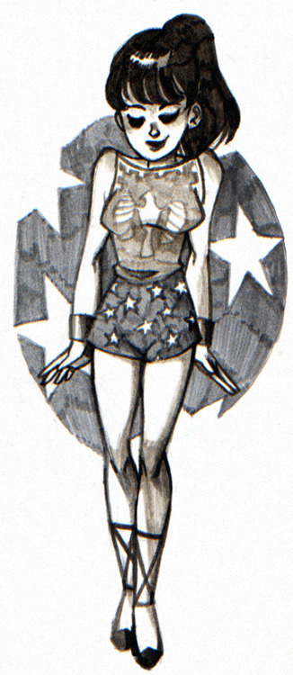 Donna Troy, by patiencerose. Not quite a redesign per se, but this is one of the few occasions where I actually covet Donna Troy's original Wonder Girl costume, due to the slightest clothing and design modifications. Donna Troy's first appearance in The Brave and the Bold, vol. 1 #60 In patiencerose's illustration, the boat neck is softer and less boxy, which allows the top to drape better for a more flattering fit. The high neckline and loose fit of the top is complemented by a pair of comfortable high-waisted bloomers, which creates a more balanced and youthful silhouette than her original pair of spandex hot-pants. Finally, the look is pulled together by her classic gladiator sandals and wristbands. It goes to show even that the slightest modification in fit, necklines, hemlines, coordinating, and draping can instantly revive and update your favorite pieces/outfits, as well as articles of clothing that just seem to fit a little off. You'll be looking like a wonder in no time!
