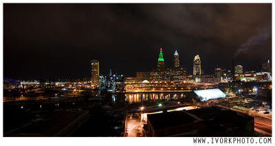 Cleveland panorama- 3 long exposure photos stitched together.