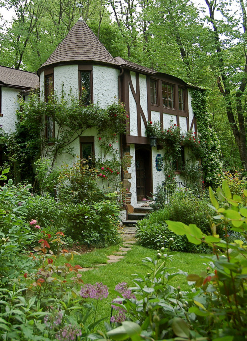emmaxmaree:  I would love to live in a cute place like this that had an art studio inside with an adorable garden just like this one! Living in a forest type area seems so magical and cozy. I would decorate the trees with fairy lights too. ^__^