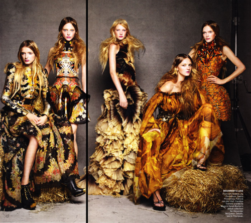Lily Donaldson, Sasha Pivovarova and Caroline Trentini in Alexander McQueen Spring 2011 for Vogue USA, designed by creative director Sarah Burton.  Photo from Fashion Gone Rogue
