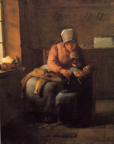 "Jean François Millet, The Knitting Lesson ""Already a considerable length of stocking has been made, but this is a place where close attention is needed. Perhaps it is time to begin shaping the heel. The mother's work is left altogether for a moment. Putting her arm about the child's shoulder, she takes the two little hands in hers, and guides the fingers holding the needles."" From a book published in 1900, Jean François Millet, by Estelle M. Hurll ☛ available here (Gutemberg Project)!  thanks to HABETROT"