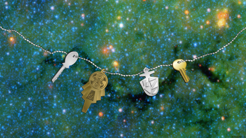 "Digital illustration of the different TARDIS keys seen over the years on Doctor Who. Multiple screenshots of each were used as reference material to ensure that even the bumps on the normal-key-style keys are locksmith-accurate.  I'm sort of a dork like that. The background is this NASA photo, which was widely enjoyed by Who fandom as it resembles a real-life version of the show's ""Crack in the Universe.""  For extra giggles I drew the keychain in the shape of the Crack."