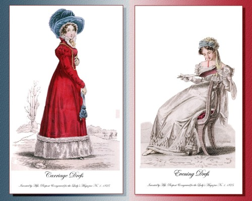 "Evening and Carriage dress design illustrations for ""Lady's Magazine"" 1825"