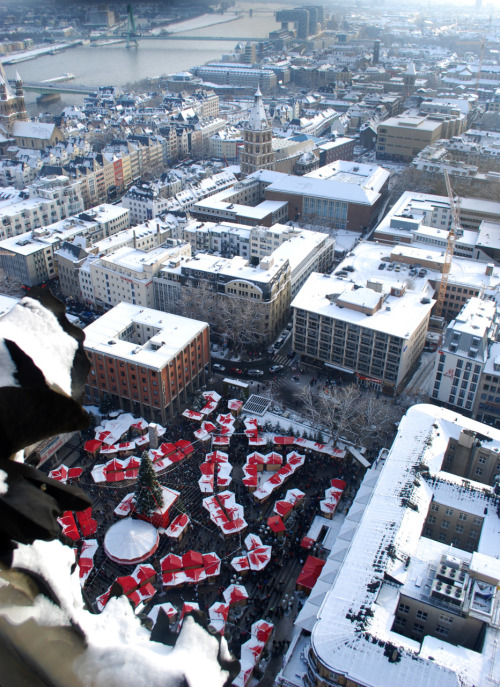 View of one of the Christmas markets from the top of the church.