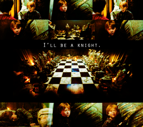 halfbloodprincess7:  Favorite Ron Weasley scene | asked by Anonymous.   Ron: It's obvious,isn't it?We've got to play our way across the room.Alright.Harry,you take the empty bishop's square.Hermione,you will be the queen-side castle.As for me,I will be a knight.