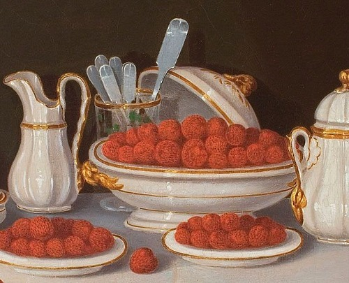 Charles Humphreys Gold Banded China with Raspberries (detail) 1862