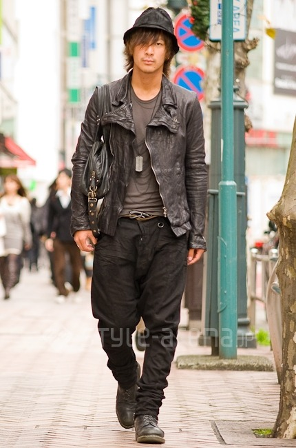 Better in leather. Found via Style Arena. Notably, this guy is outfitted in pretty much head-to-toe JULIUS, a hit-brand among many of the boys over at our forum. Hmm, do you all approve?  Comment on this post at HARAJUJU.net Forums | Ask Us | Submit to Our Tumblr