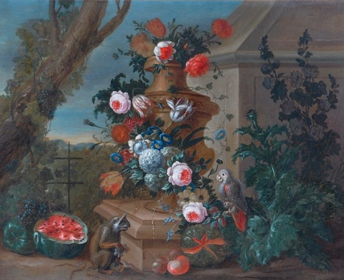 Peter Casteels Still Life with Flowers, Parrot, Monkey and Fruit Late 17th - early 18th century