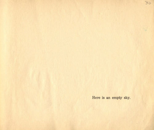 """Here is an empty sky."" Remy Charlip, Where is Everybody?  (Originally published by  Young Scott, 1957, this is a Scholastic reprint from 1969.)"