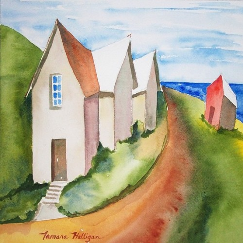 Village by the Sea watercolor by PresentsInBoxes on Etsy