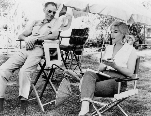 Marilyn and then husband Arthur Miller on the set of The Misfits (1961)