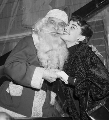 edithshead:  Audrey and Santa in NYCDecember 21, 1953