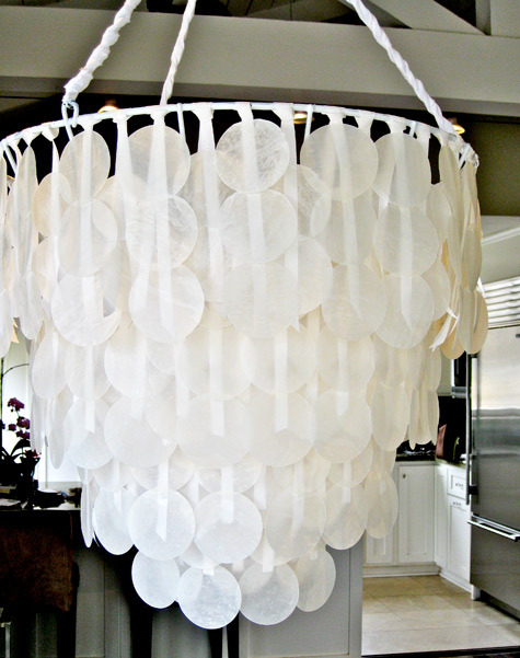 craftlinks:  Design*Sponge » Blog Archive » diy project: brenna's paper capiz shell chandelier