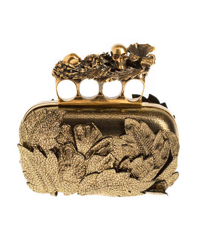 Alexander McQueen gilded leather and brass Knuckle duster clutch, available at Alexander McQueen boutiques 15 of this season's most coveted accessories for the most discerning holiday wish list:-Holiday Haute List