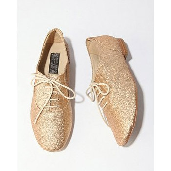 Shoe of the day: Gold glitter oxfords from Urban Outfitters.