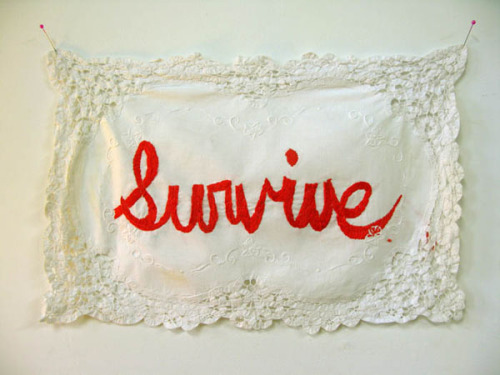 Survive., 2009 by  Joetta Maue  hand embroidered re-appropriated linen, 11 x 18 in