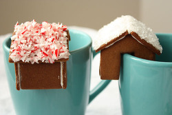 a tiny gingerbread house that perches on the edge of your mug (via)