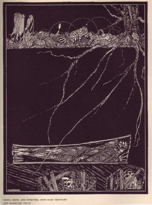 "- Illustration for Poe's 'The Premature Burial'by Harry Clarke (1883-1931)via A Journey Round My Skull (more Clarke/Poe illustrations) ""There are certain themes of which the interest is all-absorbing, but which are too entirely horrible for the purposes of legitimate fiction.""- Edgar Allen Poe, on 'The Premature Burial'"