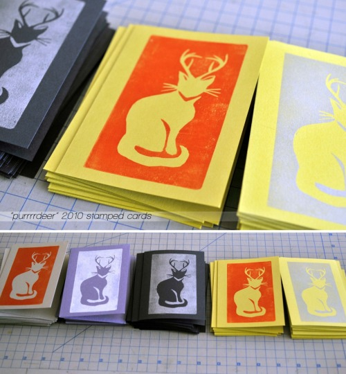 {made} — purrrdeer holiday cards I love making homemade cards to send out to our family and friends over the holiday season. They all hold an important place in our hearts and I feel that they should receive something special and unique.  I was having a bit of an issue deciding what to carve this year, I thought something relating to our cats would be cute because they are important to us, but what do cats have to do with the holidays? I was at a loss, then Ryan suggested putting antlers on a cat and I was sold. It was silly, unique and totally us. The stamp is hand carved out of a speedball block and I used a roller to apply the ink to the stamp between each card. I tried to mix things up more this year by using a variety of colors for fun card/ink combinations.  I personally love them, it's my favorite stamp to date that I've carved. Plus the name is just ridiculous :) Hope you enjoy.