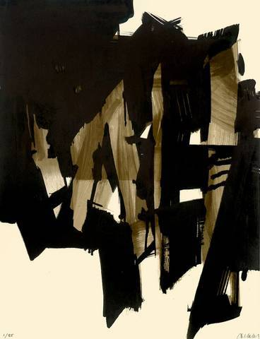 "Pierre Soulages  Rodez 1919 – lives in Paris ""LITHOGRAPHIE NO. 15"" 1964. Colour lithograph on Rives wove paper."
